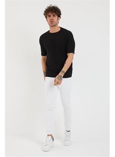 XHAN Hardal Petek Örgü Waffle Kumaş Oversize T-Shirt 1Yxe1-44876-37 Siyah